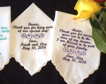Set of three personalized handkerchiefs
