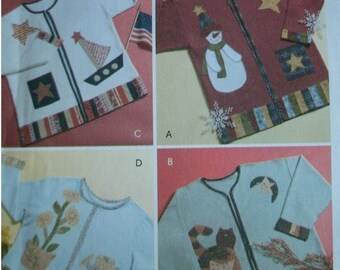 Seasonal Appliques for Adult Sweatshirts  - Pearl Louise Designs for McCalls Crafts Pattern M4735 Dated 2004