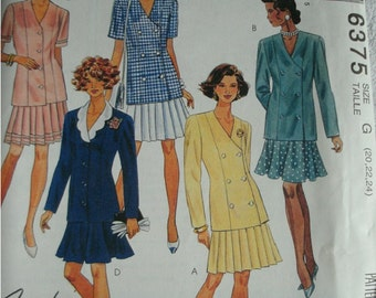 Misses Unlined Jacket and Skirt Size 20-22-24 McCalls Fashion Basics Pattern 6375 Petite-Able, Select-A-Size NEW UNCUT Pattern 1993