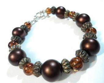 Handmade, Hippie, Boho, Gypsy, Maroon, Orange, Acrylic, Glass, Beaded, Bracelet
