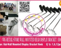 24 Styrofoam Head Holder Store Display Hook Hat Wig Retail Fixture Wall Mount Metal Bracket / Hook- FREE SHIPPING