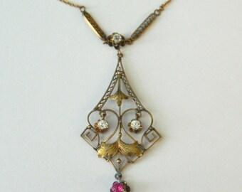 Antique 10K Gold Chandelier Rhinestone Necklace