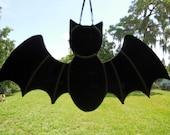 Handmade Stained Glass Halloween Bat Vampire Suncatcher Decoration Black
