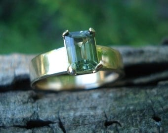 GREEN SAPPHIRE engagement ring, Emerald cut sapphire ring, green sapphire ring, sapphire wide band, alternative engagement, size 6 7 8 9 10