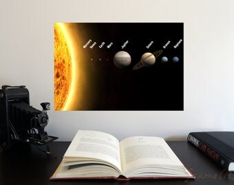 """The Solar System panorama 19"""" x 13"""" Poster - Science Astronomy Wall Art Print- Window on the Universe series for classroom or playroom decor"""