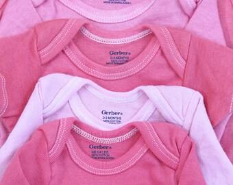 Custom Dyed pink onesies