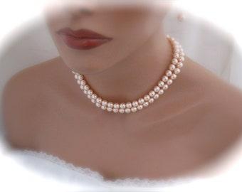 Wedding Peach Bridesmaid Jewelry Pearl Necklace Bridal Earrings Swarovski Pearl Jewelry