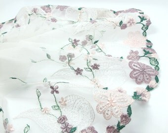 9 7/16 Inches Extra Wide Lace|Ivory Purple and Green Floral|Embroidered Lace Trim|Material|Clothing Ribbon|Hairband|Accessories DIY