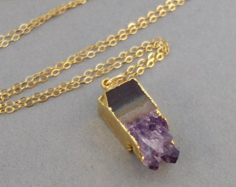 Amethyst,Necklace,Amethyst Necklace,Amethyst Birtstone,Birthstone Necklace,Amethyst Slice,Gold Necklace,Purple Stone.Purple SeaMaidenJewelry