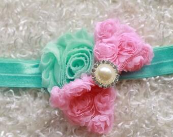 baby girl headband,aqua and pink baby Headband,Baby headbands, newborn headband, flower headband, baby girl hair bow