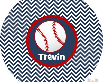 Monogrammed baseball chevron big kid boys dinner plate.   A custom, fun and UNIQUE gift idea! Kids love eating on personalized plates!