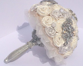 Cream and ivory brooch bouquet, silver handle, silver and pearl rhinestone
