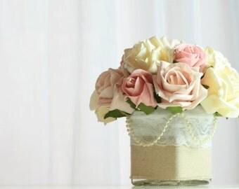 Wedding table decoration, shabby chic table centrepiece, pastel wedding decor