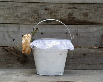 Rustic Flower Girl Bucket, Rustic Wedding Decor, Flower Girl Basket, Shabby Chic Wedding Decor