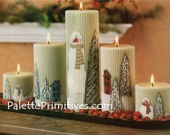 Snow Scene Candle Painting E-Pattern