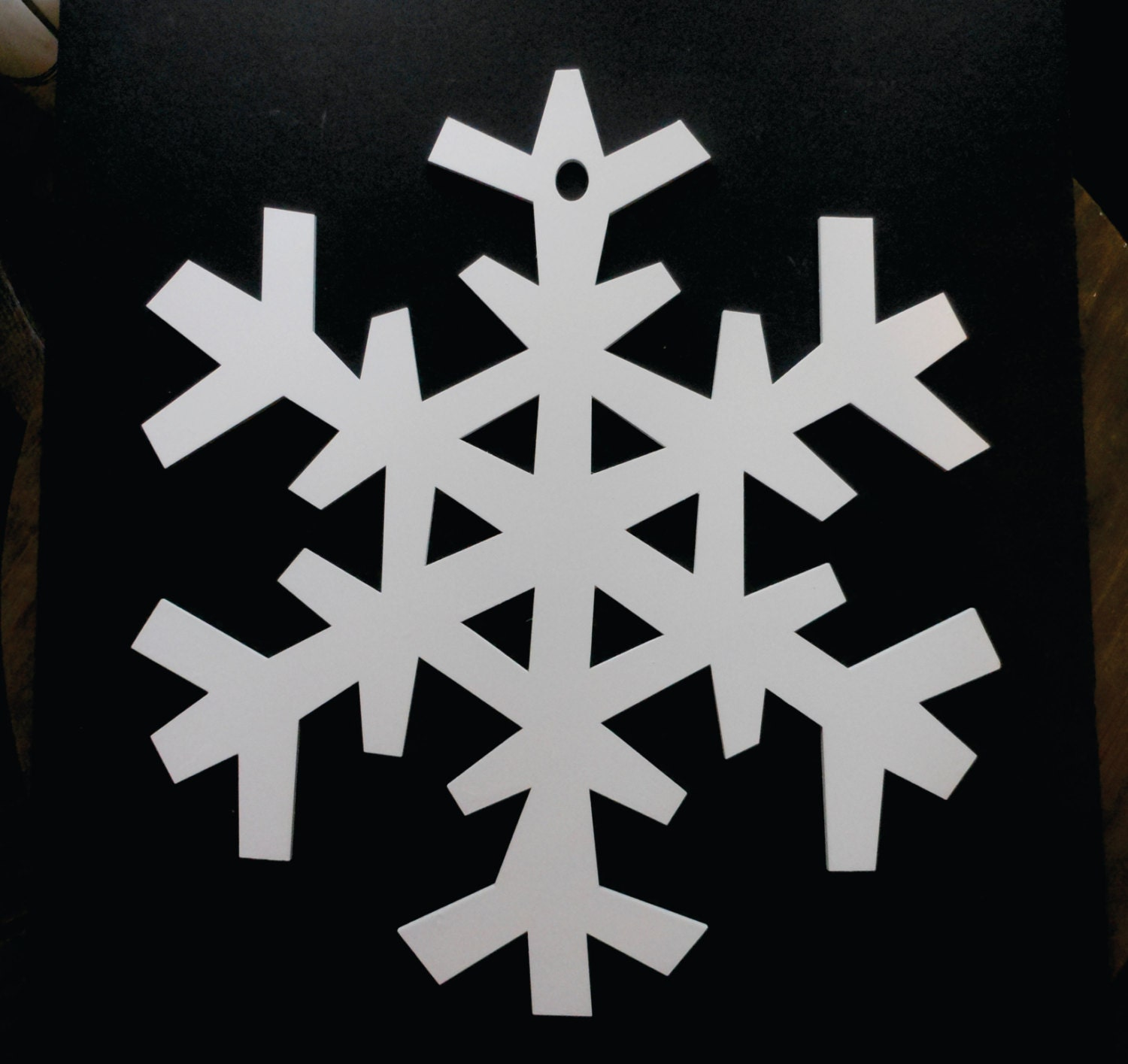 Large White Wooden Snowflake for Door or Wall.
