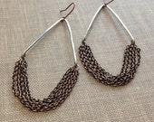 mixed metal hand forged silver triangle and copper chain fringe chandelier earrings neutral geometric statement earrings