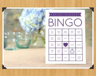 Printable Bridal Shower Bingo Game, 60 Cards in Set, DIY, Instant Download, Printable PDF, Purple