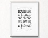 Brothers Quote, INSTANT download, Nursery, brother wall art, Printable Art, Digital file, nursery wall art, print brother quote, nursery art