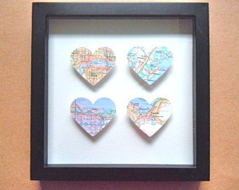 Map Heart Shadow Box -  Four 3D Maps - Wedding or Anniversary Gift -  Framed Heart Maps - Square Shadow Box Frame - Choose Your Maps