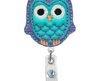 Cute Purple Blue Owl-Badge Holder - Nurses Badge Holder - Cute Badge Reels - Unique  ID Badge Holder - Felt Badge - RN Badge Reel