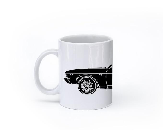 KillerBeeMoto:  U.S. Made Limited Release American Engineered Muscle Car Hot Rod Side View Coffee Mug (White)