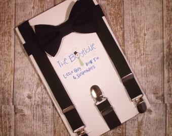 Black Bow Tie and Suspenders: Black Suspenders, Adult Suspenders. Toddler Suspenders, Baby Suspenders, Boys Suspenders, Ring Bearer, Mens