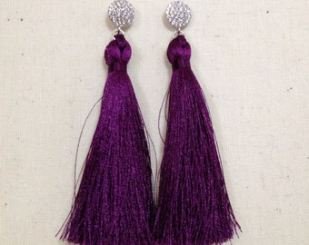 Handmade boho silk tassel earrings purple/silver/pave cubic zirconia diamond post