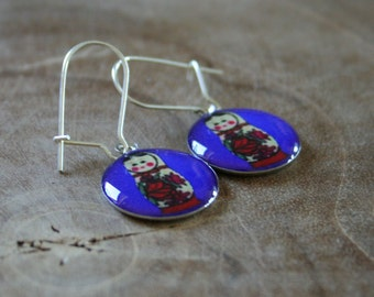 Dangeling Matryoshka earrings: Cobalt blue