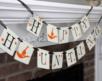 Happy Haunting Banner • Halloween Garland • Halloween Banners • Fall Decor • Fall Decorations • Halloween Decoration • Fall Banners