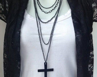 "Necklace ""multi layers"" several black chains with black metal cross"