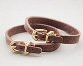 Top first layer of yellow leather pet collars, small dog collar, Teddy collar---XS/S/M