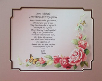 """Gift For Aunt """"For a Very Special Aunt"""" Personalized Poem Gift Idea for Birthday Christmas"""