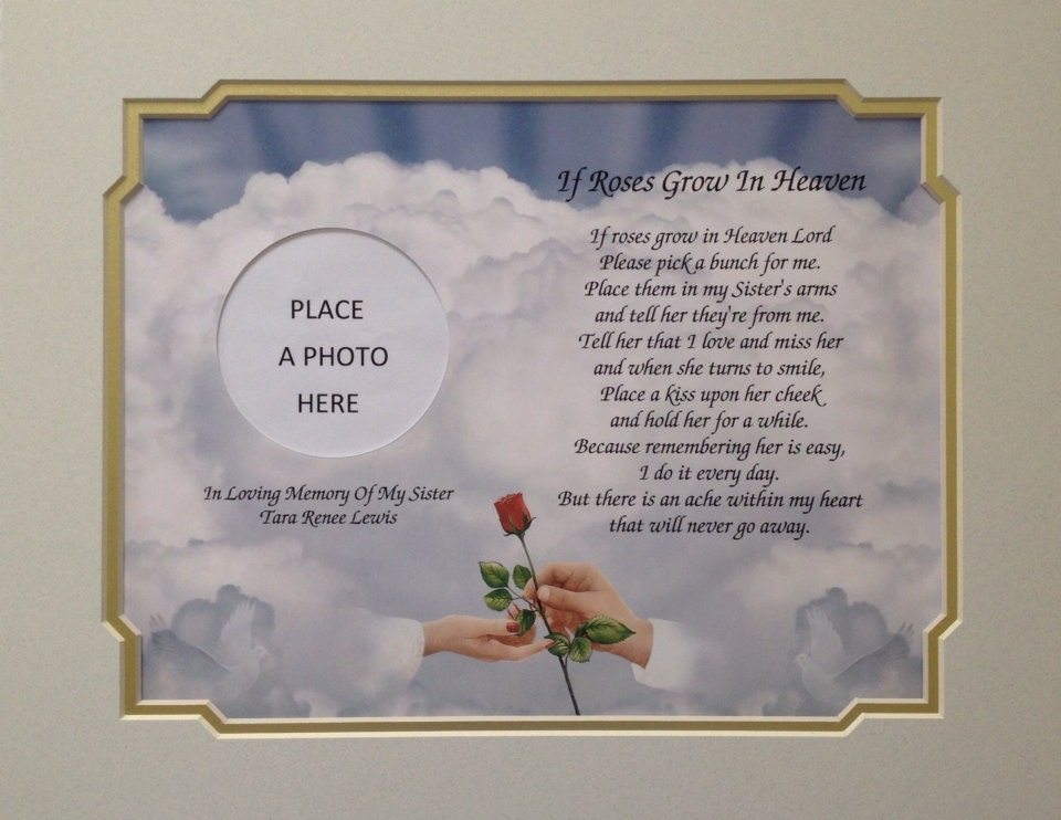 Memory of Sister Sympathy Gift Personalized If Roses Grow