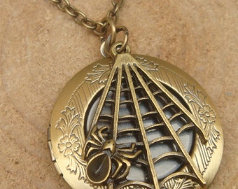 Antique Brass Spider Locket Necklace Victorian Jewelry Gift Vintage Style