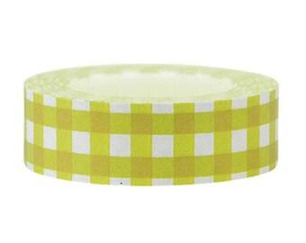 Green Grid Washi Tape--Deco tape-- 15mm x15M