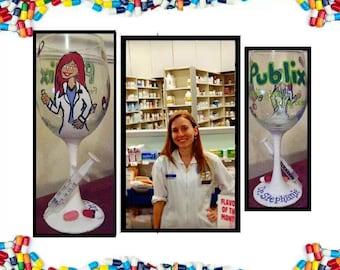 Pharmacy Wine Glass, Pharmacist Wine Glass, Occupational Wine Glass