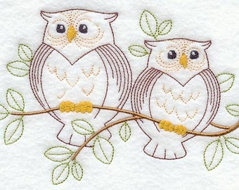 Owl duo Embroidered Flour sack towel pair Great Gift!