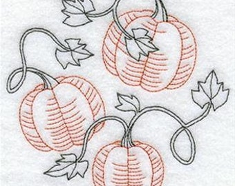 Pumpkins Embroidered Flour sack towel pair Great Gift!
