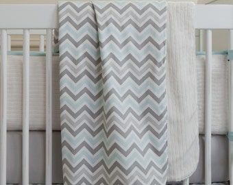 Baby Boy Crib Bedding: Mist and Gray Chevron Crib Blanket by Carousel Designs