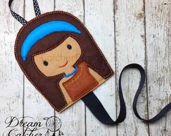 ITH Pahana Princess Inspired Felt Bow Holder Clippy Holder Clippie Holder Embroidery Design