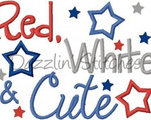 Military Homecoming July 4th Embroidery Design Red White and Cute Digital Instant Download 4x4, 5x7 and 6x10