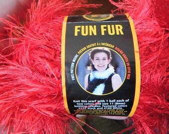 Lion Brand Yarn - Fun Fur - Red