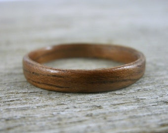 Handmade Wood Ring - Thin Jatoba - Exotic Wood - Bentwood Ring - Wedding Ring