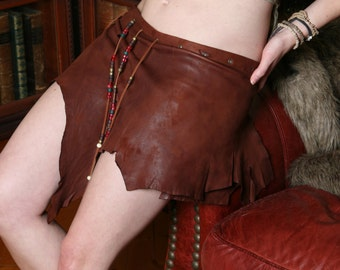 Queen of Sheba - Deer Skin Brown Leather Skirt - Deerskin Elven Elf Garment