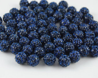 8mm Polymer Clay with Dark blue Rhinestone Loose Bead Pave Disco Crystal Ball Beads Spacer Findings