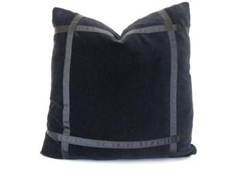 Black velvet pillow cover with black grosgrain ribbon trim
