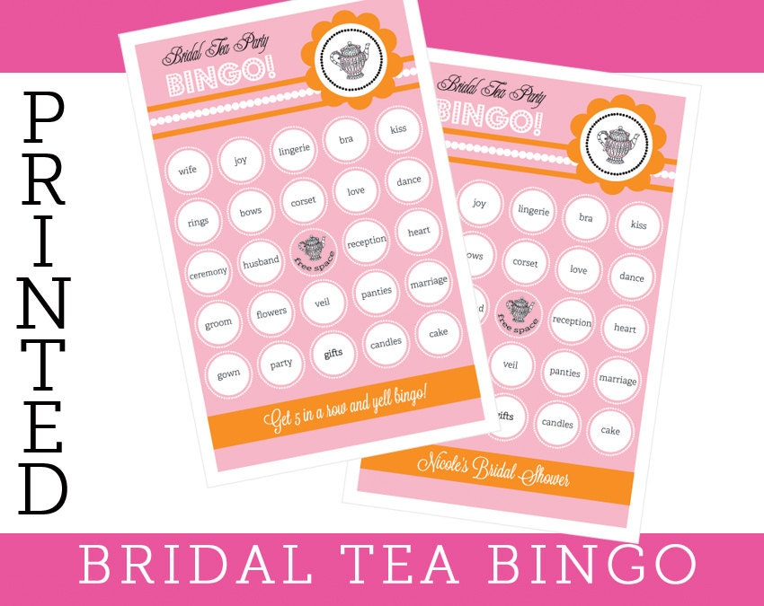 Tea party bridal shower games bridal bingo cards by modparty for Bridal shower kitchen tea ideas