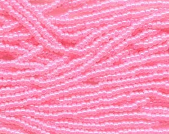 Seed Beads, 8/0, 6 String Hank, Mini Hanks, 20 Inch Loops, Pink Ceylon, Value, Glass Beads, 38 Grams, #37175