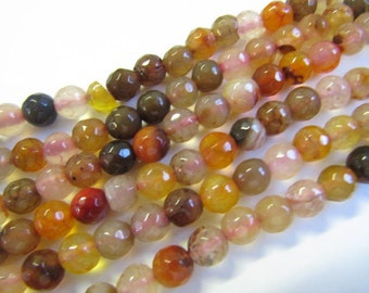 Natural Agate Beads Strands 6 MM, Faceted, Round,Dyed, Mixed Color, Oranges, Browns, Pinks, 64 Piece Strands,